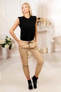 Pantalon simili cuir beige