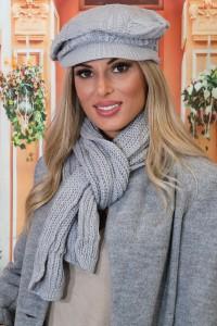 Ensemble casquette écharpe grise