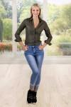 Jean taille haute motif argenté