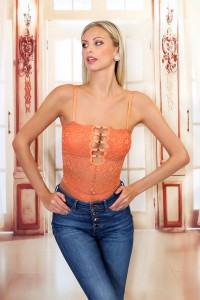 Body décolleté droit anneaux orange
