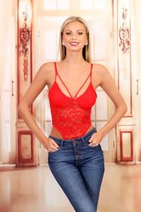 Body string dentelle rouge