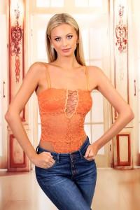 Body dentelle décolleté droit orange