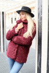 Manteau mi-long bordeaux