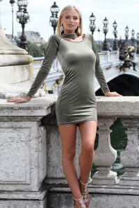 Robe mini en velour gris