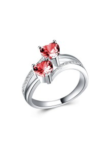 Bague coeur double anneaux rose