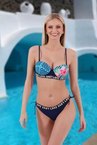 Bikini tropical bleu marine