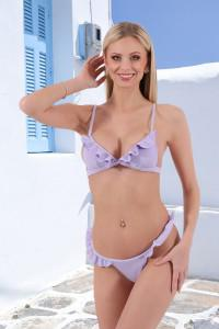 Bikini lila à volants