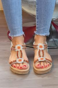 Sandales plates argentées