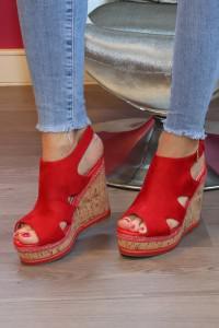 Sandales rouges à talons