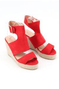 Sandales à talons compensées rouges