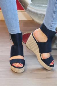 Sandales à talons compensées bleue