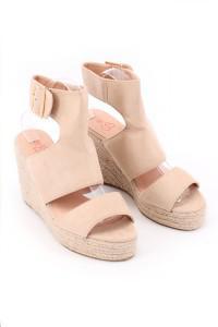 Sandales à talons compensées beiges