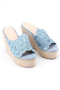 Sandales bleu compensées