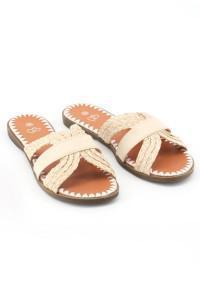 Sandales plates beiges