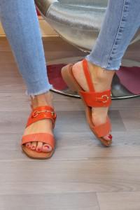 Sandales oranges plates