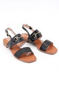 Sandales noires plates