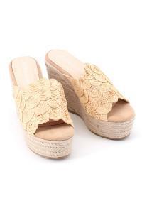 Sandales beiges compensées