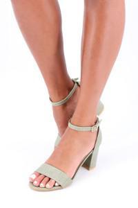 Sandales à talon vert
