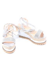 Sandales compensées argents