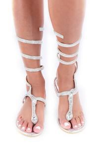 Sandales plates argents