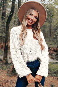 Pull maille manches longues blanc