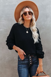 Pull maille manches longues noir