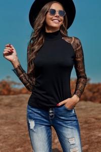 T-shirt noir manches longues en dentelle, col haut