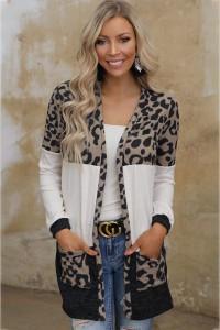 Cardigan léopard à poches