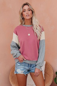 Sweat tricolore rose manches longues