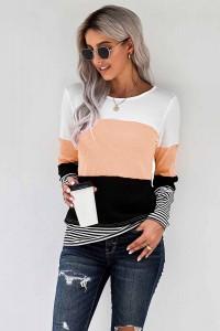 T-shirt manches longues abricot et noir