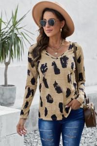 T-shirt léopard manches longues