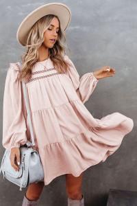 Robe rose à manches longues