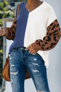 Pull bleu imprimé léopard
