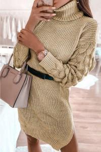 Robe pull à col roulé beige