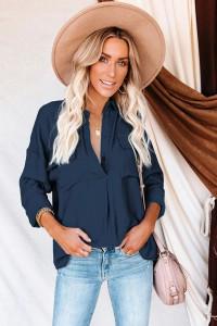 Chemise boutonnée bleue marine